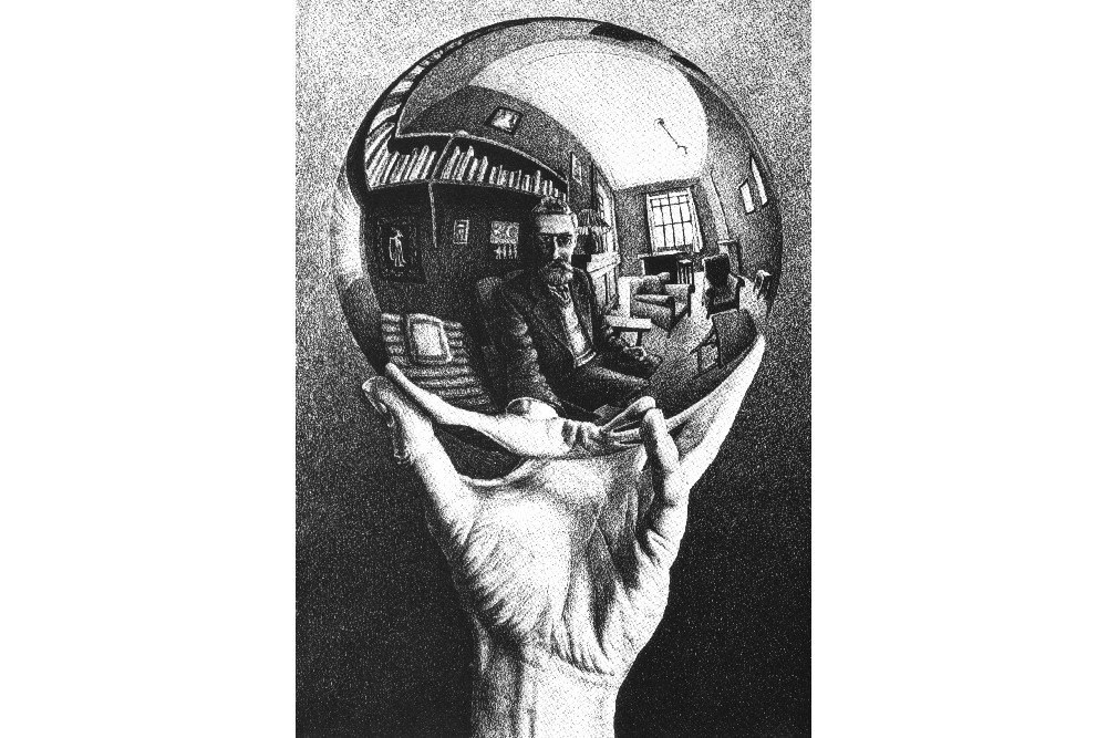 Рука с отражающим шаром, литография, 1935 г.